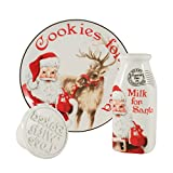 Fitz & Floyd 3 Piece Letters to Santa Collection Milk & Cookie Press, Red/White