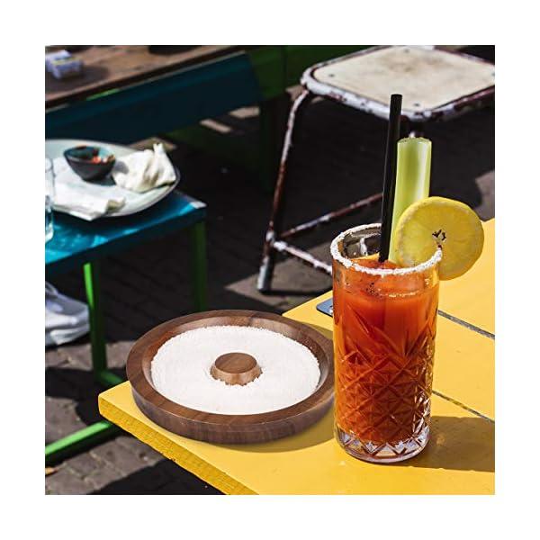 TMKEFFC Rimmer Vetro Cocktail Piatto di Sale in Legno per l'aggiunta di Sale e Zucchero a Cocktail, Margarita, Bevande… 2 spesavip