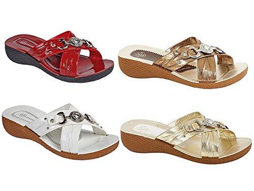 Foster Footwear - talón abierto mujer R White