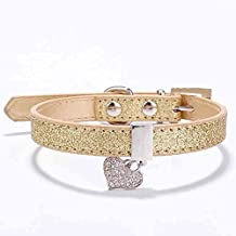 ZasPen(TM) Glitter Pu Leather Dog Collars For Pet Puppy Dog With Rhinestone Bling Heart Diamond Pendant Size XS S [S Gold]