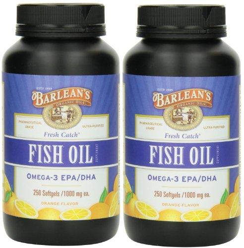 Barlean's Fresh Catch Fish Oil, 250 softgels/1000 mg Orange Flavored - Pack of 2