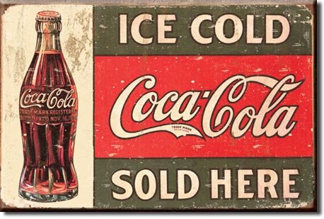 Tin Sign - Coke - C. 1916 Ice Cold, 16x13 (Old Signs)