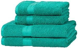 AmazonBasics - Juego de toallas (colores resistentes, 2 toallas de baño y 2 toallas de manos), color verde