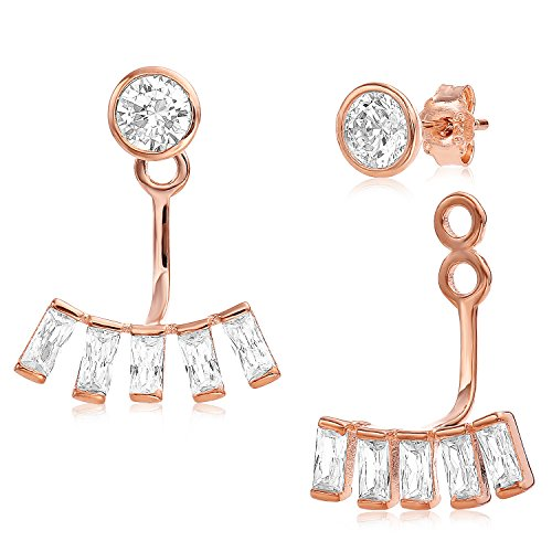 Ear Jacket 2 in 1 Rose 14k Gold Plated-Sterling Silver, CZ AAA Quality Stud and Jacket Earrings Set