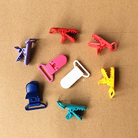 Amazon.com: 10Pcs Baby Plastic Pacifier Clip Holder Soother Mam ...