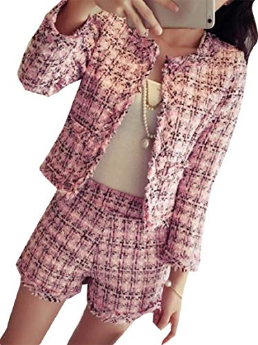 (ouxiuli Womens Fashion Plaid Two Piece Set Tweed Pearls Skirt Suit New Winter Women Fashion Jacket Pink XS)