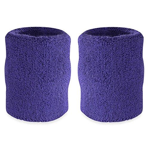 Suddora 4 Inch Arm Sweatbands - Thick Cotton Armbands for Gymnastics, Basketball, Tennis, Football (Purple)