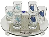 Cheers Collection Liquor Set with 6 Glasses Round And Tray Tulip - Ocean - Tray 15'' X 3.5'' - Cup 3.75''H