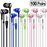 Bulk Earbuds Headphones 100 Pack Multi Colored for School Classroom Students Kids Child Teen (Mixedcolor)