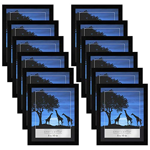 Americanflat 12 Pack - 8x10 Picture Frames - Display Pictures 8x10 Inches - Easel Backs - Built-in Hangers - Plexiglass Fronts ()