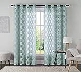 One (1) Jacquard Grommet Window Curtain Panel: 54'' x 84'' (Spa Blue)