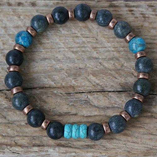(Mens Beaded Bracelet Serpentine Turquoise Sea Sediment Jasper Bracelet Blue Jasper Beaded Bracelet Healing Stones Gemstone Stretch Coil)