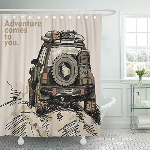 (Semtomn Shower Curtain Waterproof Polyester Fabric 72 x 78 inches Jeep Adventure Off Road Car Safari Offroad 4X4 Desert Truck with Set with Hooks Decorative Bathroom Curtains)