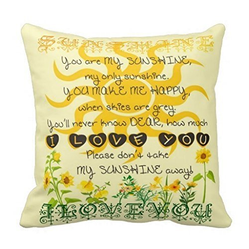 Jidmerrnm 18x18 Inches You are My Sunshine Pillow Fashion Home Decorative Pillowcase Cotton Polyester Pillow Cover Home Sofa Cushion Decorative ()