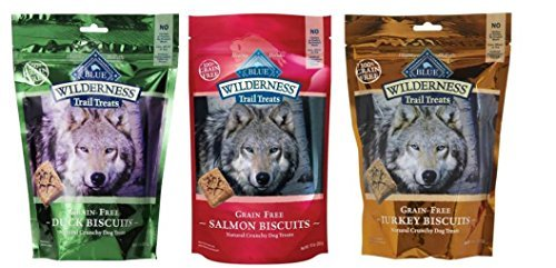 Blue Buffalo Wilderness Trail Treats GrainFree Dog Biscuits 3 Flavor Variety Bundle: (1) Blue Wilderness Trail Treats Duck, (1) Blue Wilderness Trail Treats Turkey and (1) Blue Wilderness Trail Treat