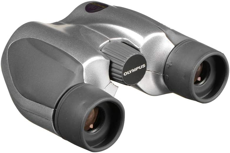 An image of a bulky, gray-colored pair of binoculars on a white background.