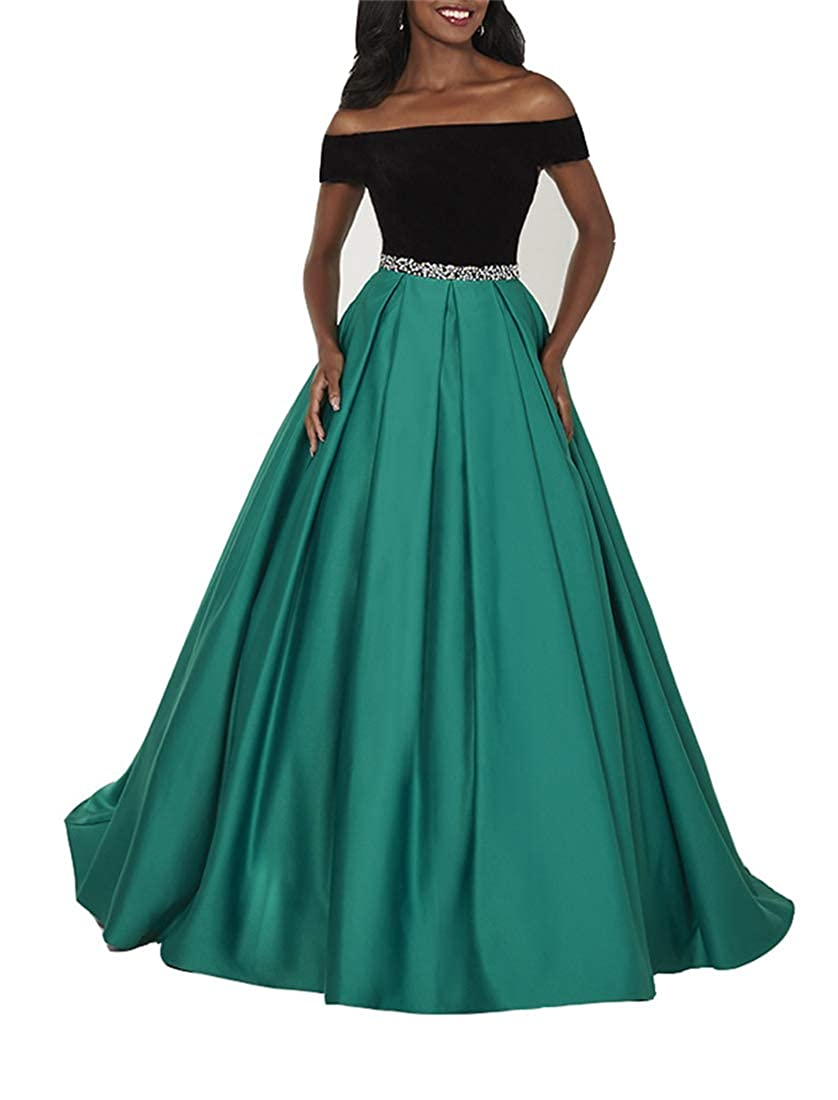 Black Green Stylefun Women's OffShoulder Prom Evening Dress Aline Pleated Skirt Pageant Gowns with Pockets XIN034