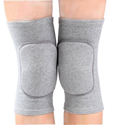 MINILUJIA Children's Kids Knee Brace Pad Tight Non-Falling Sponge Sleeves Breathable Flexible Elastic Support Protector Cover 2PCS/Pair (s, Grey)