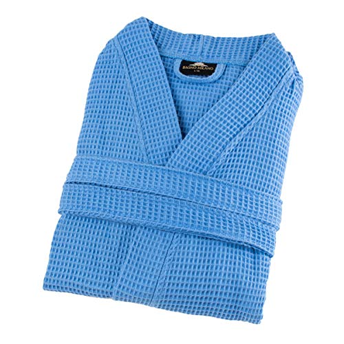 Bagno Milano Mens Waffle-Knit Bathrobe - Lightweight Hotel Spa Robe, Made in Turkey (S-M, Blue) -