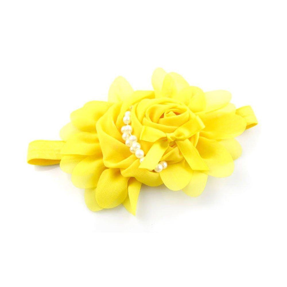 Amazon.com   FuzzyGreen Fashion Baby Girls Chiffon Yellow Rose Flower Pearl  Headband Babies Clips Elastic Hairband Photography   Beauty b71b6d0e34b