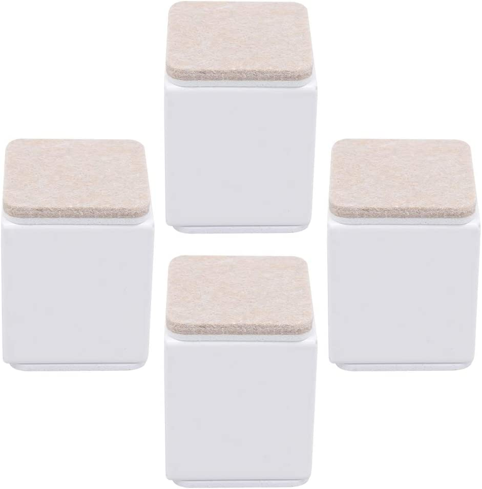RDEXP 4x Carbon Steel Felt Furniture Legs Table Risers Square Supports White 40x52mm