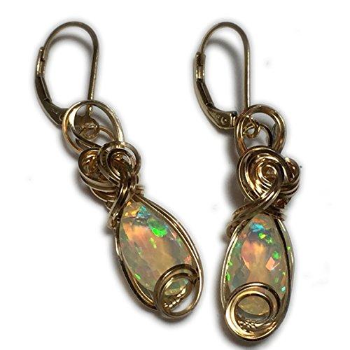Opal, ETHIOPIAN OPAL Earrings, Bright, AAA, 14k Yellow gold Fill, pink, green, Opal Earrings, Jewelry, Wire wrapped, 85g9-9 14k Yellow Gold Opal Gemstone Earrings