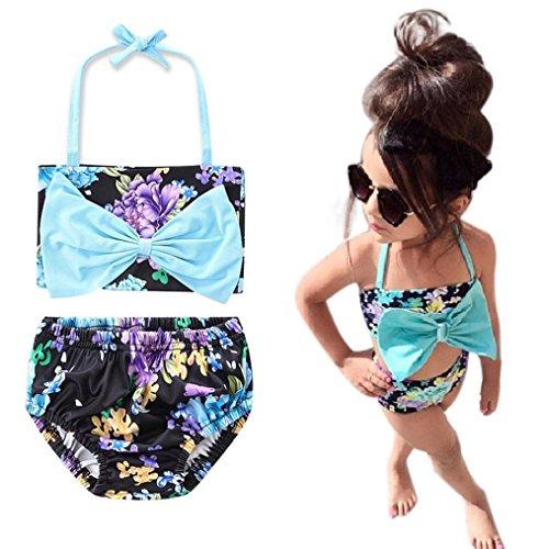 Toddler Baby Girl Bowknot Floral Swimsuit Swimwear Bathing Suit (Blue, 3T/4T) (Blue Glue Bikini)