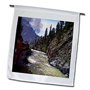 Jos Fauxtographee Realistic - The Silverton Train in Colorado Going Down The Tracks next to The River - 18 x 27 inch Garden Flag (fl_57352_2)