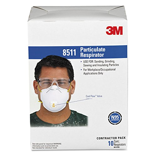 3M Particulate Respirator 8511 N95 with 3M Cool FlowTM Exhalation Valve 10 Pack Particulate Filter