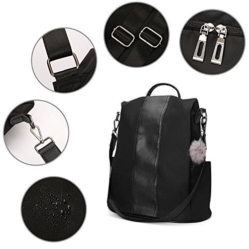 Women Bags JL Bag amp;LJ Nylon Waterproof School navy Handbag Backpack PU Rucksack Blue Nylon Shoulder Lightweight Leather Antitheft fqpq156