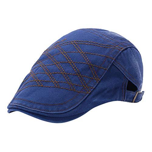 Behkiuoda Men Women Hat Old Vintage Embroidery Beret Hat Painter Newsboy Hat Causal Cap (Free Size, Blue)