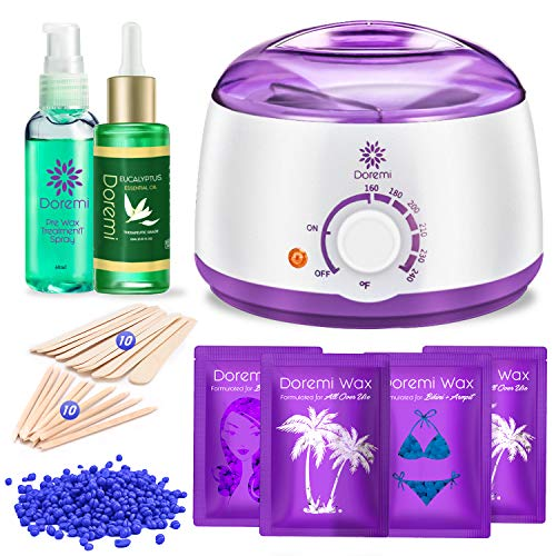 Doremi New Waxing Kit, Painless Hair Removal Home Kit,Multiple Formulas Target Different Type of Bikini, Facial, Armpit,Eyebrows, with Hot Wax Warmer, 4 Hard Wax Beans and 20 Wax Applicator Sticks ()
