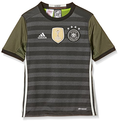 adidas Kinder UEFA EURO 2016 DFB Auswärtstrikot Replica, Dark Grey Heather/Off White/Base Green, 140, 558138067