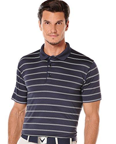 Callaway Men's Golf Performance Stripe Short Sleeve Polo Shirt, Peacoat, Medium