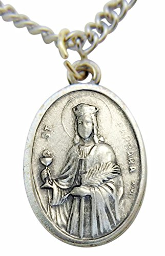 Barbara Medal Pendant - WJH St Barbara Medal 3/4 Inch Metal Saint Pendant with Chain