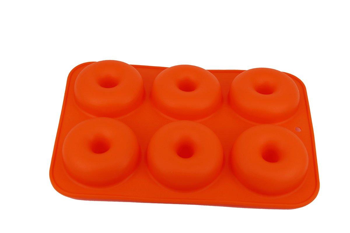 CDOFFICE Set of 2PCS 6-Cavity Silicone Donut Baking Pan Non-Stick Donut Maker Pans(Orange+Rose) by CDOFFICE (Image #3)