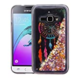 Samsung Galaxy Amp 2, Express 3, Luna, J1 2016 Case – Wydan Slim Hybrid Liquid Bling Glitter Sparkle Quicksand Waterfall Shockproof TPU Phone Cover – Dreamcatcher