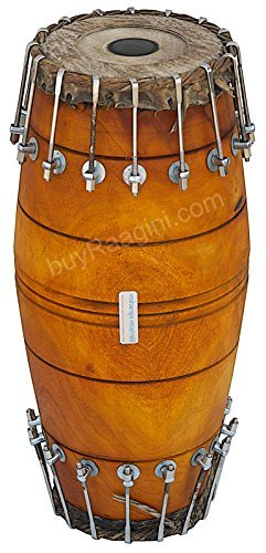 Maharaja Musicals Mridangam, Jack Fruit, South Indian Mridangam Instrument, Bolt-tuned, Tuneable To D Sharp, Includes Drumhead Covers and Nylon Bag, Mridanga/Mridangam Drum (PDI-BBI)