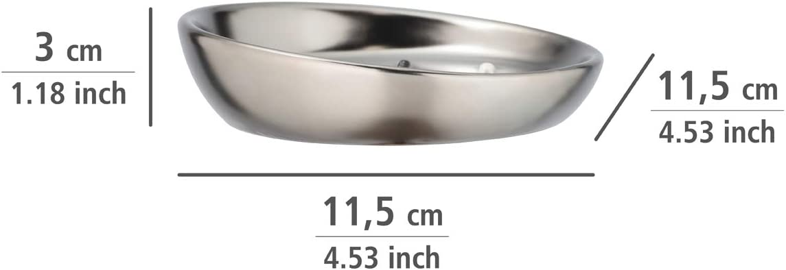 cer/ámica Wenko Jabonera Badi Ideal para jab/ón de Manos Cromo Mate /Ø 11,5 x 3 cm