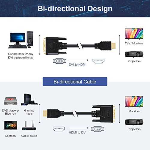 DVI Male to HDMI Male Cable, CableCreation 5 Feet Bi-directional HDMI Male to DVI(24+1) Male Cable, Support 1080P for Raspberry Pi, Roku, Xbox One, Laptop, Graphics Card, Blue-ray, Nintendo Switch etc