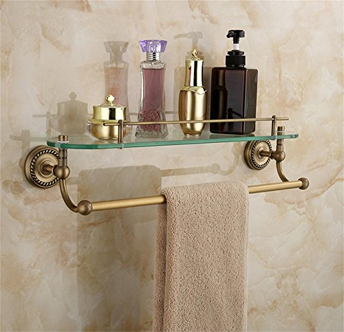 MLMH Antique Bathroom Shelf European Copper Retro Wall-mounted Glass Bracket Towel Rack Bathroom Hardware Accessories Towel Rack (European Shelf Bracket)