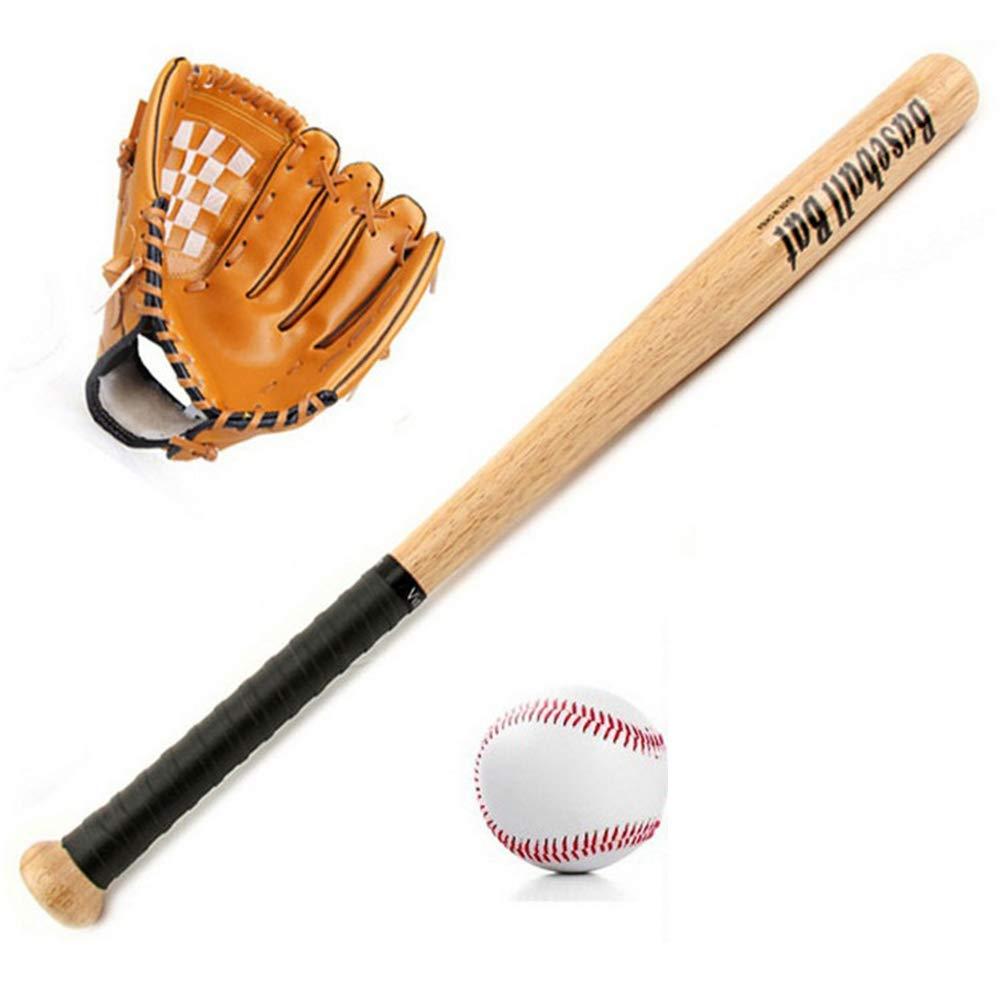 Batte en Bois de 24 Pouces 10,5 Pouces en Cuir Gant /à la Main Gauche Standard 9e Blanc Baseball Sac de Rangement Enfant Adolescent Cadeau /Équipement pour Enfants ZJY Ensemble de Baseball