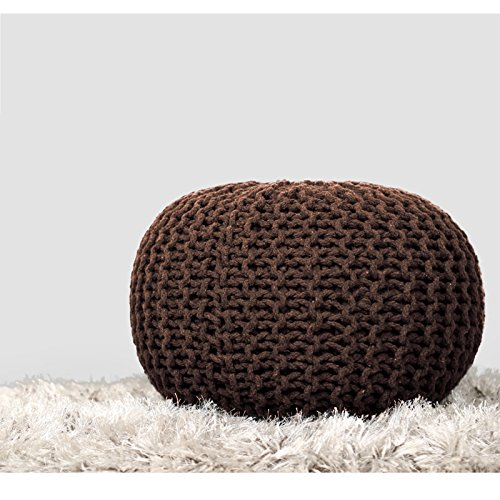 RAJRANG Brown Cylindrical Round Floor Pouf - Indian Cotton Cord Wrapped Ottoman Footstool Home Decorative Seating Bean Bag