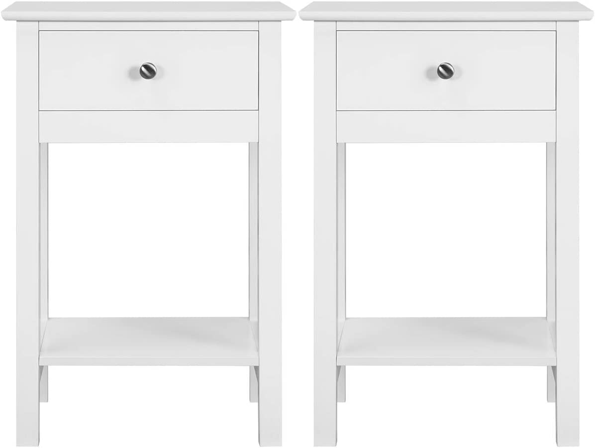 YAHEETECH Nightstands Bedside Table Cabinet with Drawer Storage Shelf for Bedroom, Set of 2, White