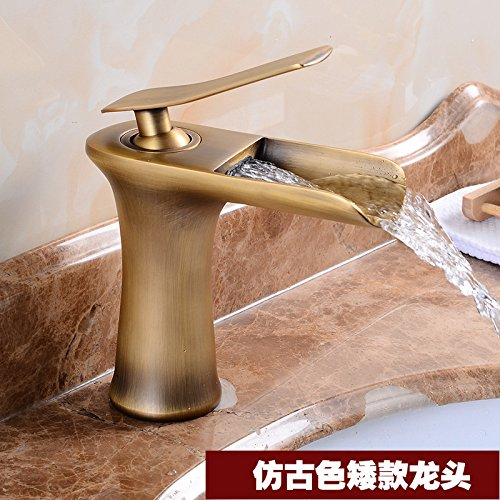 Antique Low) Gyps Faucet Basin Mixer Tap Waterfall Faucet Antique Bathroom Mixer Bar Mixer Shower Set Tap antique bathroom faucet Basin faucet white black paint basin faucet vanity falls full copper hot and cold t