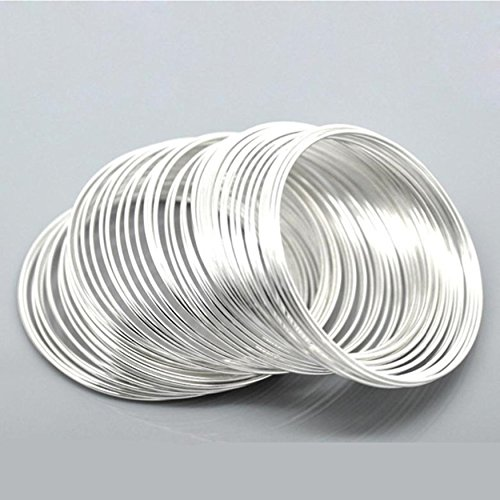 Steel Wire Memory Beading Bracelets Components Round Silver Plated Loops Craft Jewelry Making Findings DIY Memory Wire Bangle