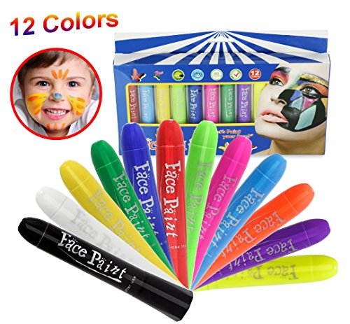 Face Paint Crayons,12 Color Washable Non Toxic Body Painting Set For Kids/Child/Adults,Twistable Marker Sticks Ideal for Christmas, Halloween,Costumes, Birthday (Halloween Costumes For Adults Easy)