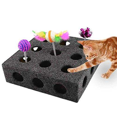 Petbemo Interactive Cat Toy Box Peek a Prize Cat Toy Box 21 Holes - Hide & Seek Treat Maze & Puzzle Feeder for Cats ()