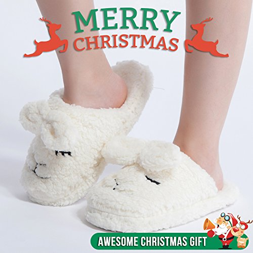 Pantofole Da Donna Sfocate Delle Donne Maamgic Ladies Cute Bedroom Indoor Winter Slippers White