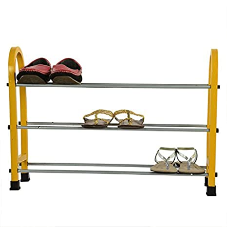 Celona Multipurpose Modern 3 Layer Metal Shoe Rack Storage Cabinet, Yellow Color Home Storage   Organization